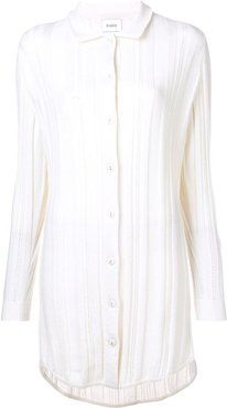 cashmere knitted shirt dress - White