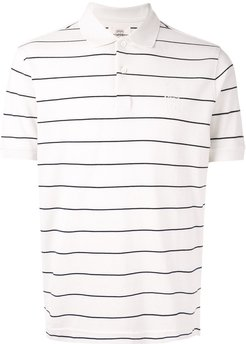 pinstripe print polo shirt - White