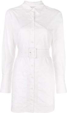 belted shirt dress - White