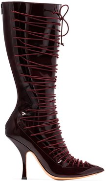 lace-up 100mm boots - Red