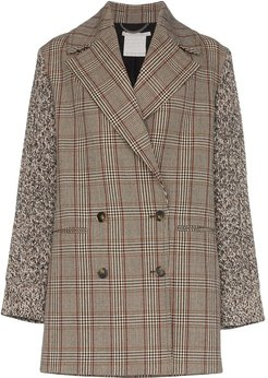 double-breasted checked coat - Brown