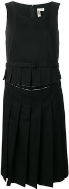 pleated midi dress - Black