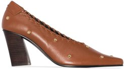 studded 80mm pumps - Brown