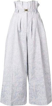 cropped wide-leg trousers - Blue