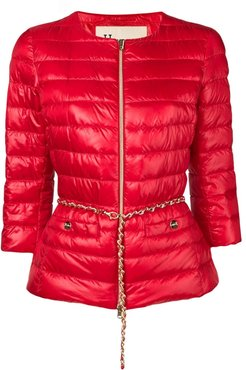 belted quilted jacket - Red