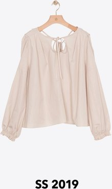 Long Sleeve Cutout Poplin Blouse