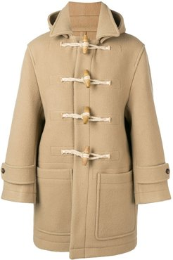 Patched Pockets Shearling-trimmed Duffle Coat - Neutrals