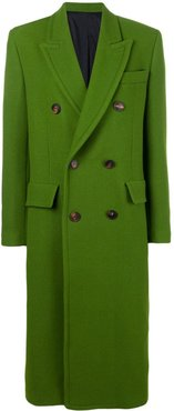 Three Buttons Patched Pockets Unlined Coat - Green