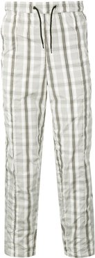 checked track trousers - White