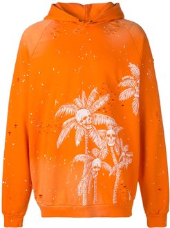 Skull Palm print hoodie - ORANGE