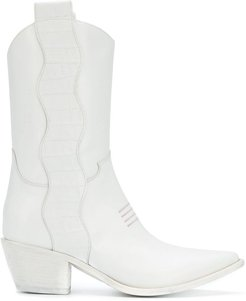 pointed texan boots - White