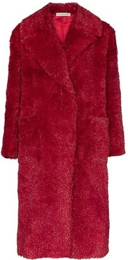faux fur long coat - Red