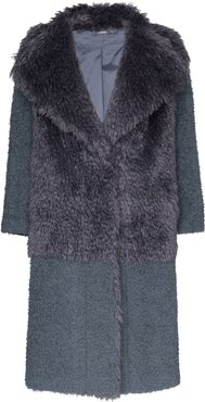 faux fur textured coat - Grey