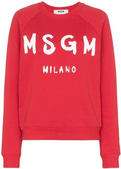 logo printed sweatshirt - Red