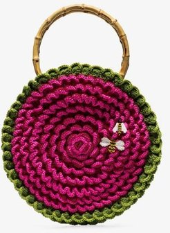 Pink Small knitted bee embroidered circle bag