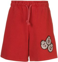 jersey shorts with patches on the front - Red