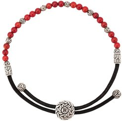 classic chain round beads bracelet - Red