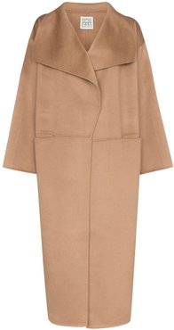 soft-knit overcoat - Brown