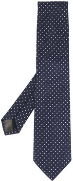 polka-dot embroidered tie - Blue