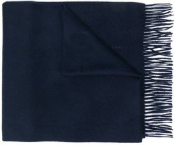 Navy Cashmere Embroidered Scarf | ACC-013/E - Blue