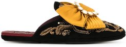 embroidered bow-detail slippers - Black