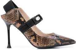 snakeskin effect mary jane pumps - Brown