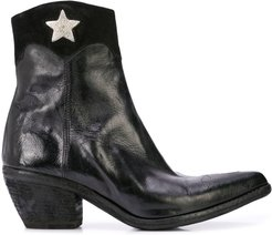 star detail ankle boots - Black