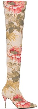 floral 100mm over-the-knee boots - PINK