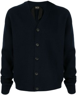 raw edge V-neck cardigan - Blue