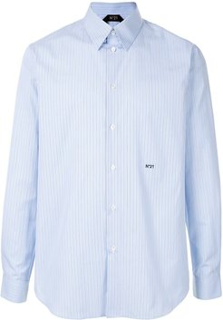 embroidered logo striped shirt - Blue