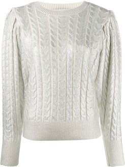 metallic-threading knitted jumper - White