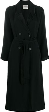 belted double breasted coat - Black