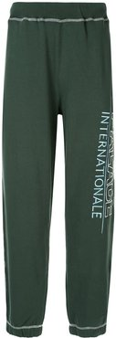 logo embroidered track trousers - Green