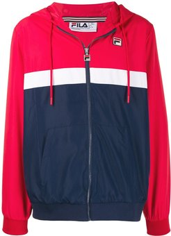 zipped hooded jacket - Red