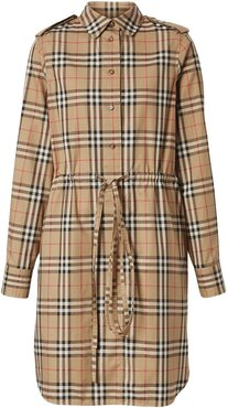 vintage check drawcord shirt dress - Neutrals