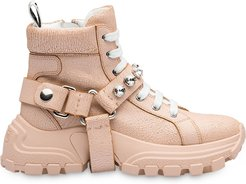 embellished strap high-top sneakers - PINK
