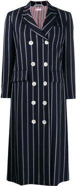 banker strip wide lapel overcoat - Blue