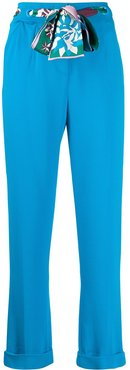 silk scarf belted cropped trousers - Blue