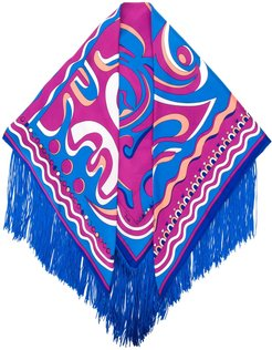 psychedelic pattern fringed scarf - Blue