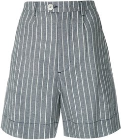 striped tailored shorts - Blue