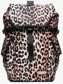 black and Brown Leopard Print Backpack