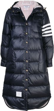 4-Bar stripe long puffer jacket - Blue