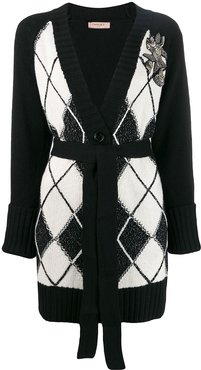 maxi cardigan with diamond inlays - Black