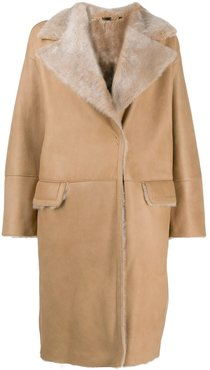 shearling button up coat - Brown
