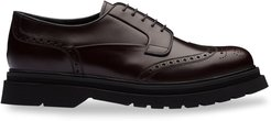 brushed leather lug-sole brogues - Brown