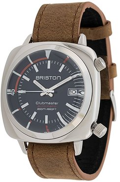 Clubmaster diver polished steel watch - Brown