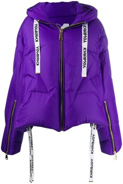zipped puffer jacket - PURPLE