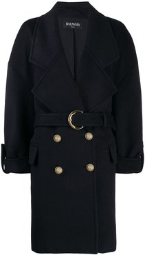 boxy double breasted coat - Blue
