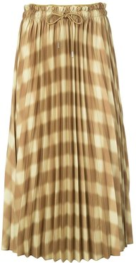 Diffused Gingham Georgette Pleated Skirt - Yellow