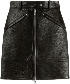 zipped leather skirt - Black